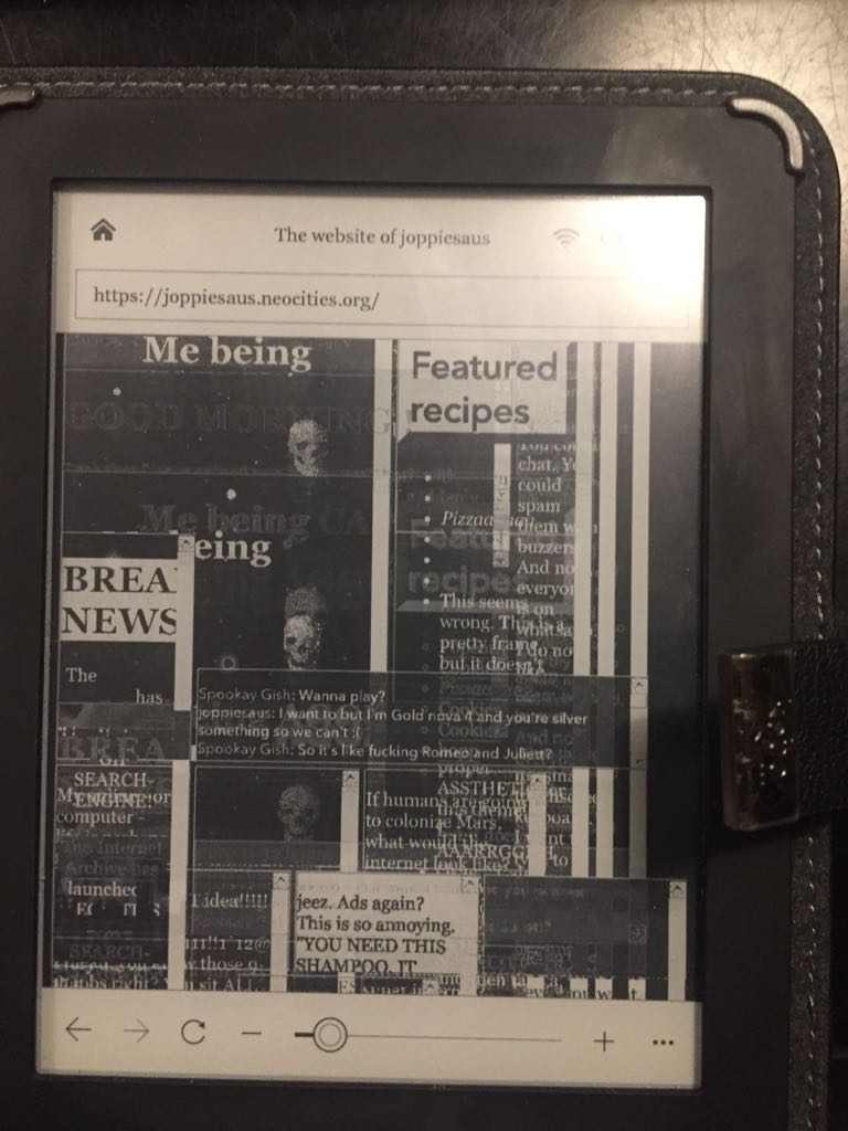 my website viewed on a ereader